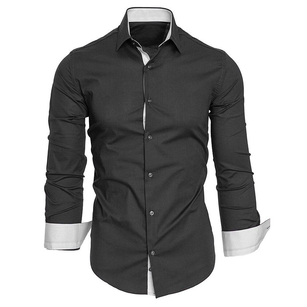 HTB1ggBpXzzuK1RjSspeq6ziHVXaj - #4 DROPSHIP 2018 NEW HOT Fashion Men's Autumn Casual Formal Solid Slim Fit Long Sleeve Dress Shirt Top Blouse Freeship