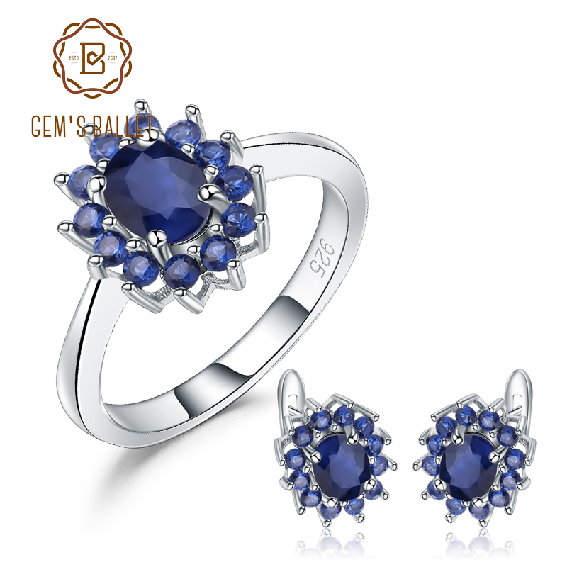 GEM S BALLET Princess Diana Natural Blue Sapphire Earrings Ring Set 925 Sterling Silver Jewelry Set