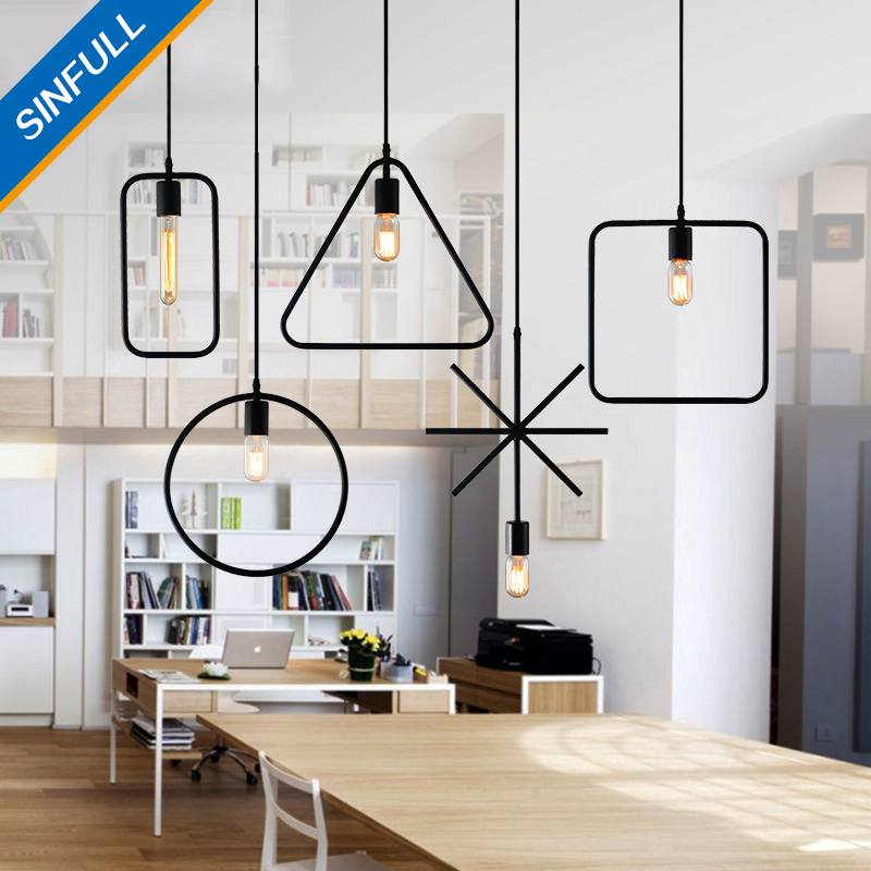 Retro geometric iron Loft Pendant Lights Industrial Vintage American black suspension Lamp Restaurant indoor lighting luminaria american retro pendant lights luminaire lamp iron industrial vintage led pendant lighting fixtures bar loft restaurant e27 black