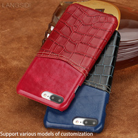 Genuine Leather Case For IPhone 7 Plus Back Cover Card Slots Crocodile Grain Stitching Oil Wax
