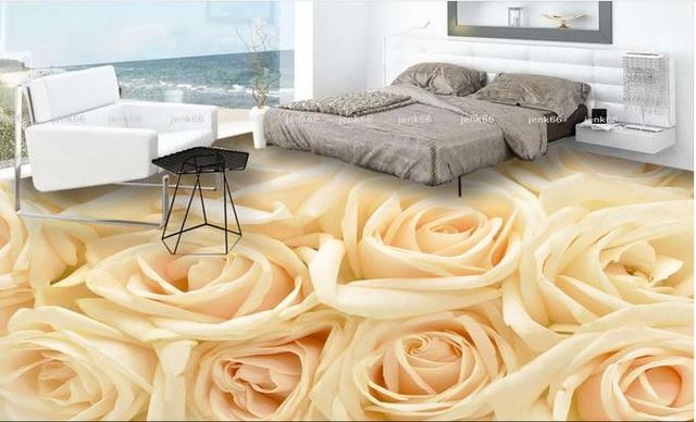 Custom Vinyl Flooring Adhesives White Rose Flower Flooring Soundproof  Wallpaper 3d Floor Living Room Wallpaper 3d