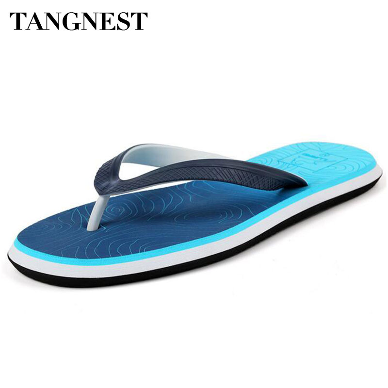 Tangnest Summer Men Slippers 2017 New Men Beach Sandals Fashion Wave  Pattern Flip Flops For Male