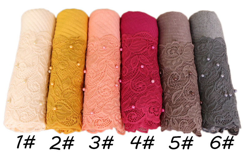 Beautiful Lace Embroidery Edges Cotton Hijab Winter Plain Muslim Crumpled Scarf With Pearl Women Long Wrap Soft Muffler Scarf