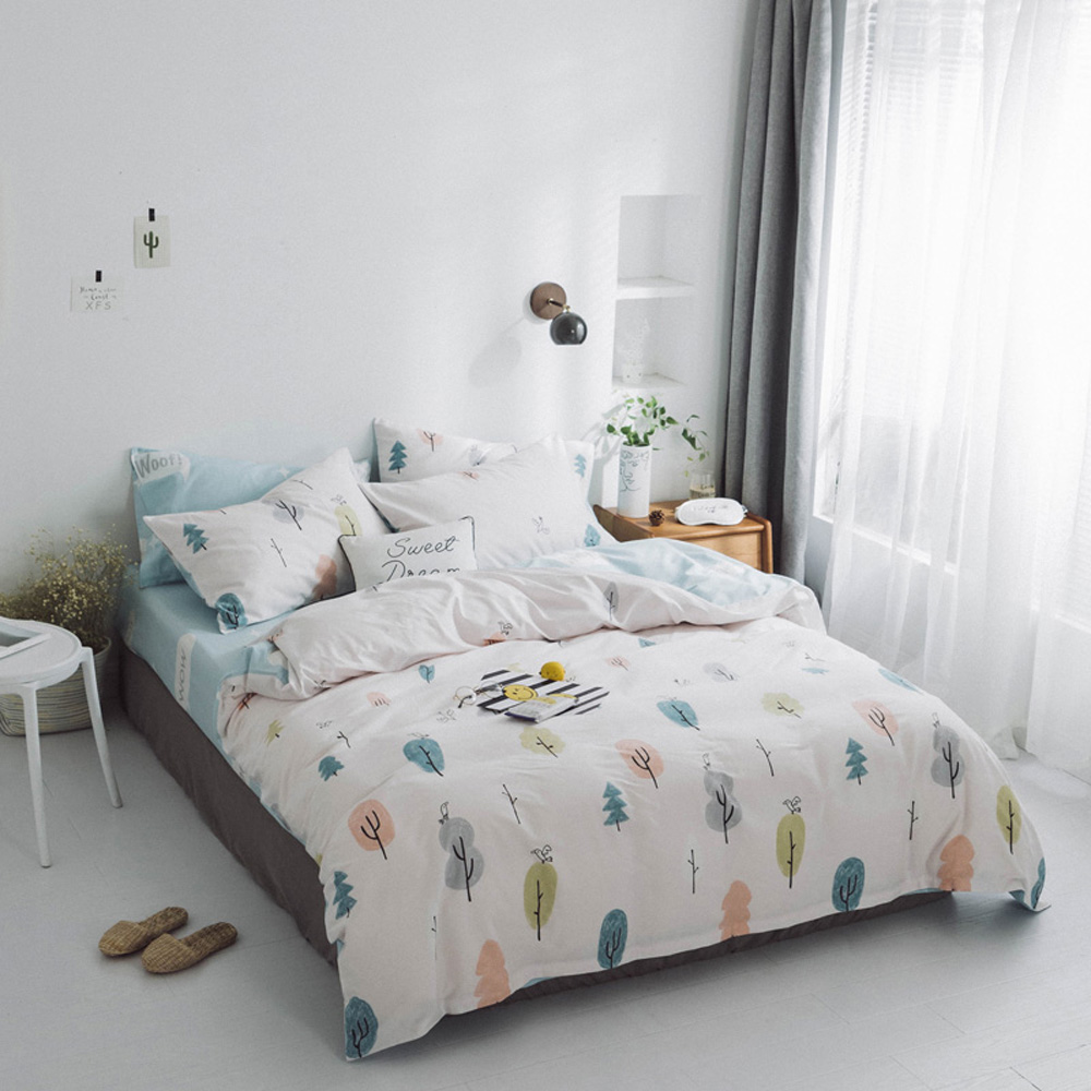 Papa&Mima Colored tree print bedding set 100% Cotton Queen size flat sheet pillowcases duvet cover sets dropshippingPapa&Mima Colored tree print bedding set 100% Cotton Queen size flat sheet pillowcases duvet cover sets dropshipping