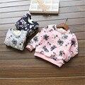 Rápida de alta calidad niños clothing 2016 otoño coreano de manga larga caliente imprimir casual algodón fleece sudadera ropa de las muchachas