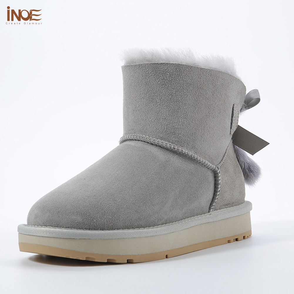 INOE Sheepskin Leather Wool Fur Lined Women Short Ankle Winter Suede Snow Boots with Bowknots Mink Fur Tassels Keep Warm Shoes - 3