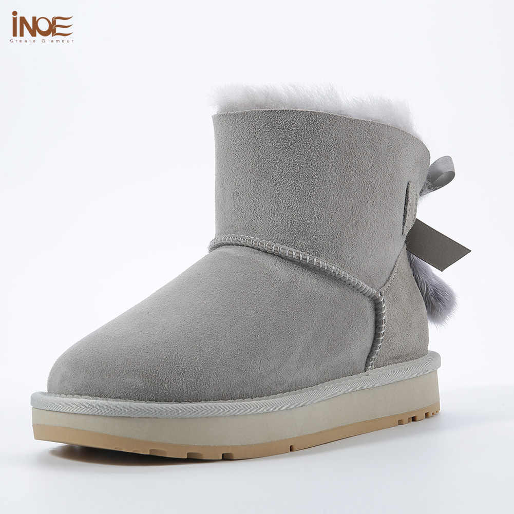 INOE כבש עור צמר פרווה מרופד נשים קצר קרסול חורף זמש שלג מגפי עם Bowknots מינק פרווה גדילים להתחמם נעליים