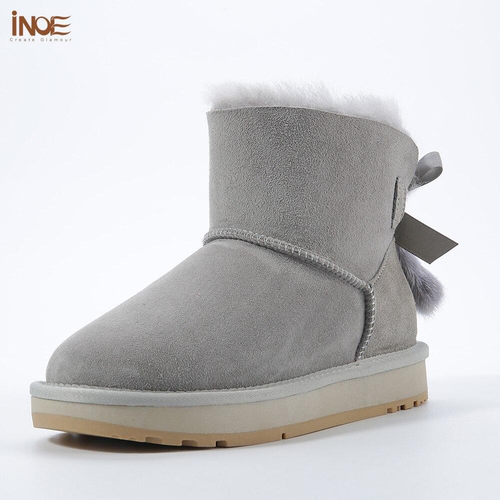 Inoe pele de carneiro couro de lã forrado mulheres curto tornozelo camurça botas de neve com bowknots vison pele borlas manter sapatos quentes - 3