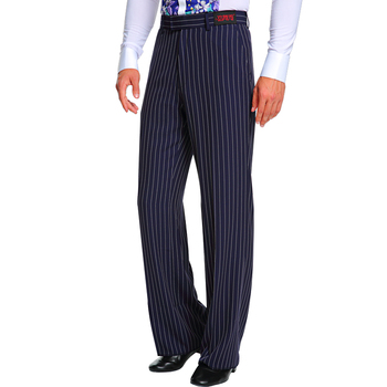 Navy Latin Dance Pants For Men Stripe Adult Male Rumba ChaCha Tango GoGo Competitive Performance Stage Costume Black Pant BL1596