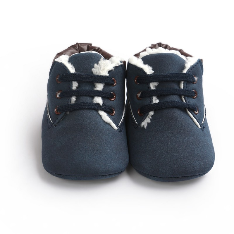 Warm Soft Bottom Solid Color Cozy Anti-slip Classic Tie Up Boots Shoes Winter Newborn Infant Toddler Shoes