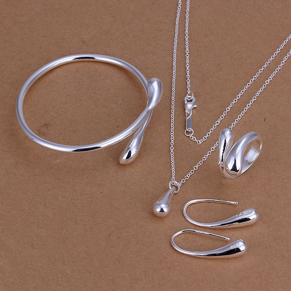 Jewelry-Sets Bangles Ring Wedding-Marked Silver-Color Fashion High-Quality S222 Women