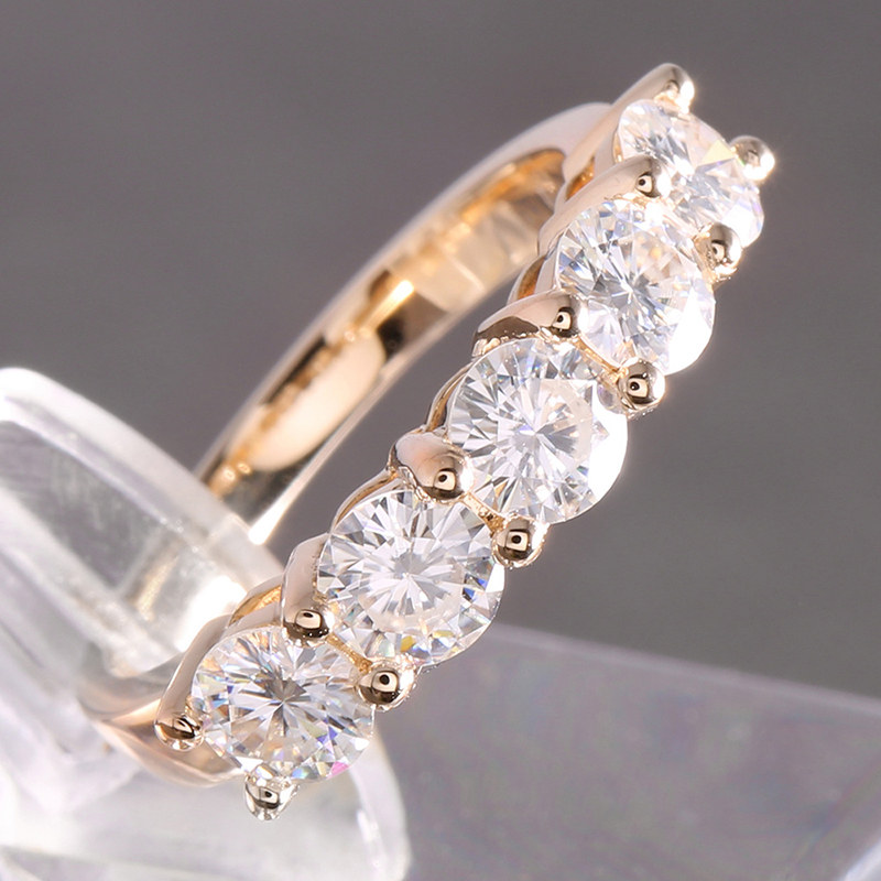 Image 3 - Transgems Solid 14K 585 Yellow Gold 1.25CTW 4mm F Color Moissanite Diamond Half Eternity Wedding Band Rings for Women Jewelry-in Rings from Jewelry & Accessories