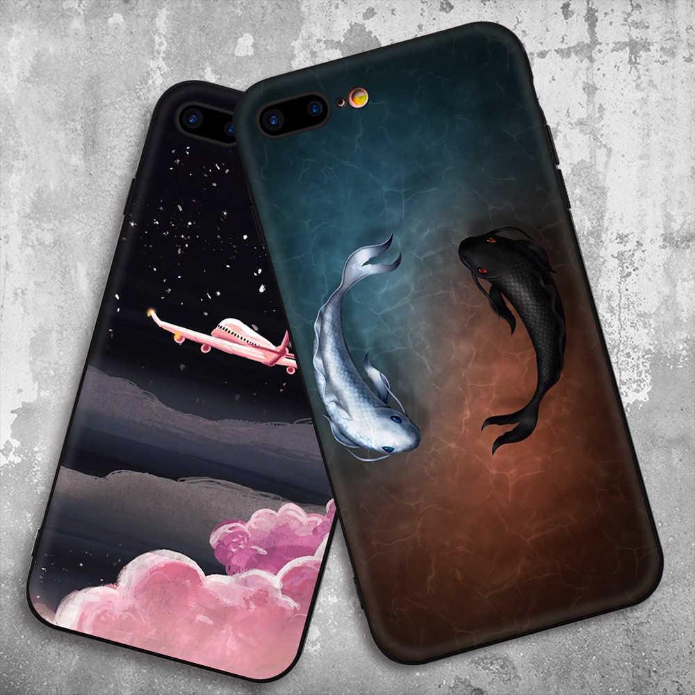 GerTong 2018 黒電話ケース × 10 Fundas Coque シェル iphone 8 7 6 6 s プラス XR XS 最大ソフトシリコンバックカバーケース