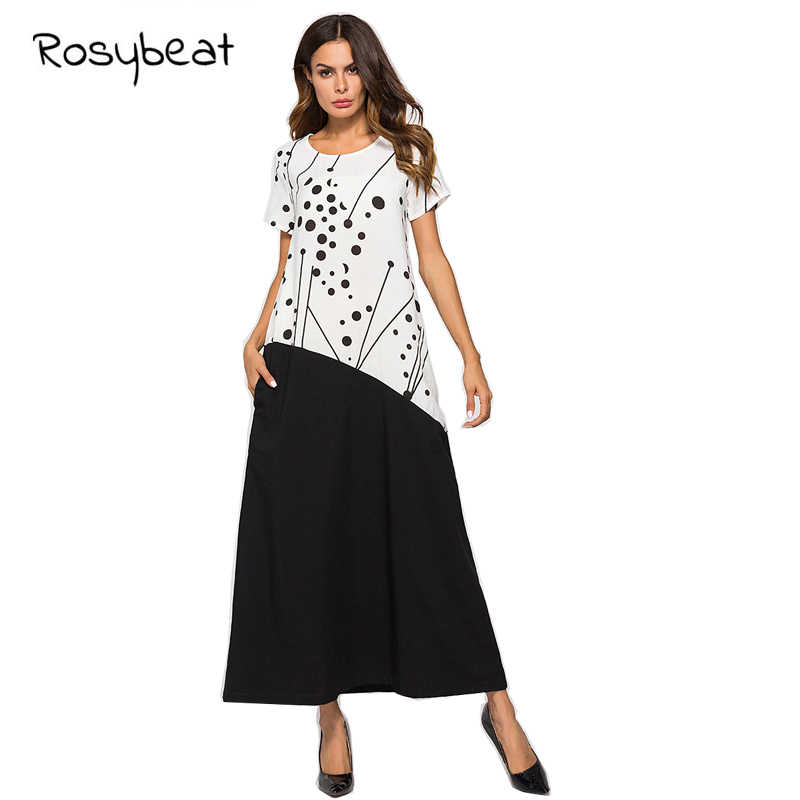 Large Size Muslim Short Sleeve Robe M L XL XXL Long Dress Cotton And  Contrast Color Stitching e288100061c5