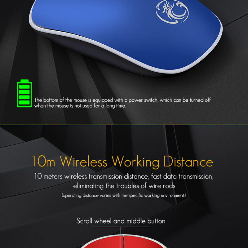 iMice Wireless Mouse Silent Computer Mouse 1600 DPI Ergonomic Mause Noiseless Sound USB PC Mice Mute Wireless Mice for Laptop Mice