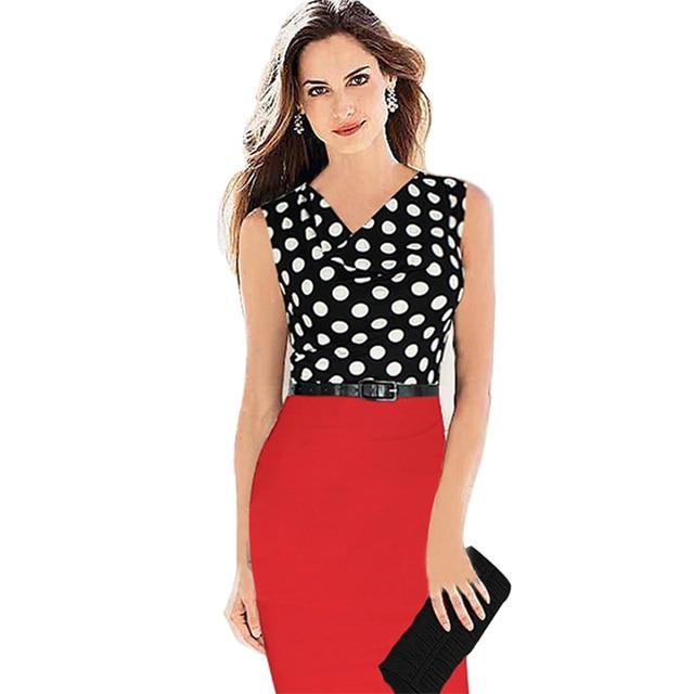 AMIKAFASHION Wholesale Hot Sale New Polka Dot Sleeveless Knee-length Pencil Party Evening Women Dresses Size S M L XL XXL
