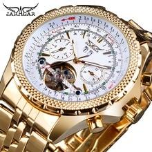 цена Jaragar Golden Stainless Steel Tourbillion Design Calendar Display Mens Watches Top Brand Luxury Automatic Mechanical Wristwatch онлайн в 2017 году