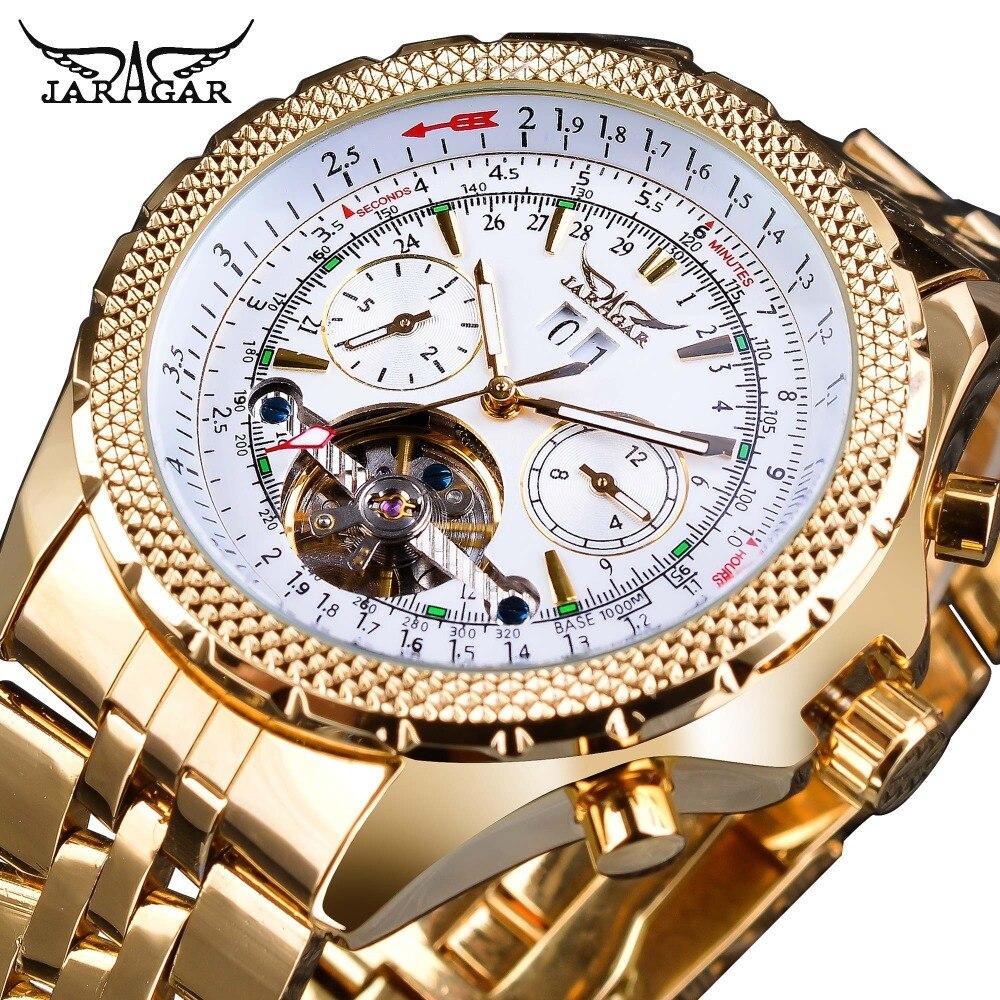 Turbilhão de Aço Exibição dos Homens Relógio de Pulso Jaragar Ouro Inoxidável Design Calendário Relógios Marca Superior Luxo Automático Mecânico