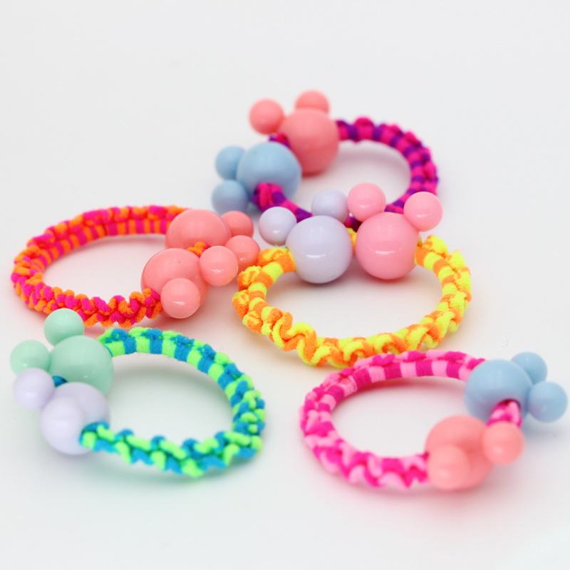isnice Children Girl Headwear 10pcs/lot Dia 35mm Color Rubber bands cute hair accessories Double Cartoon head girl ornaments