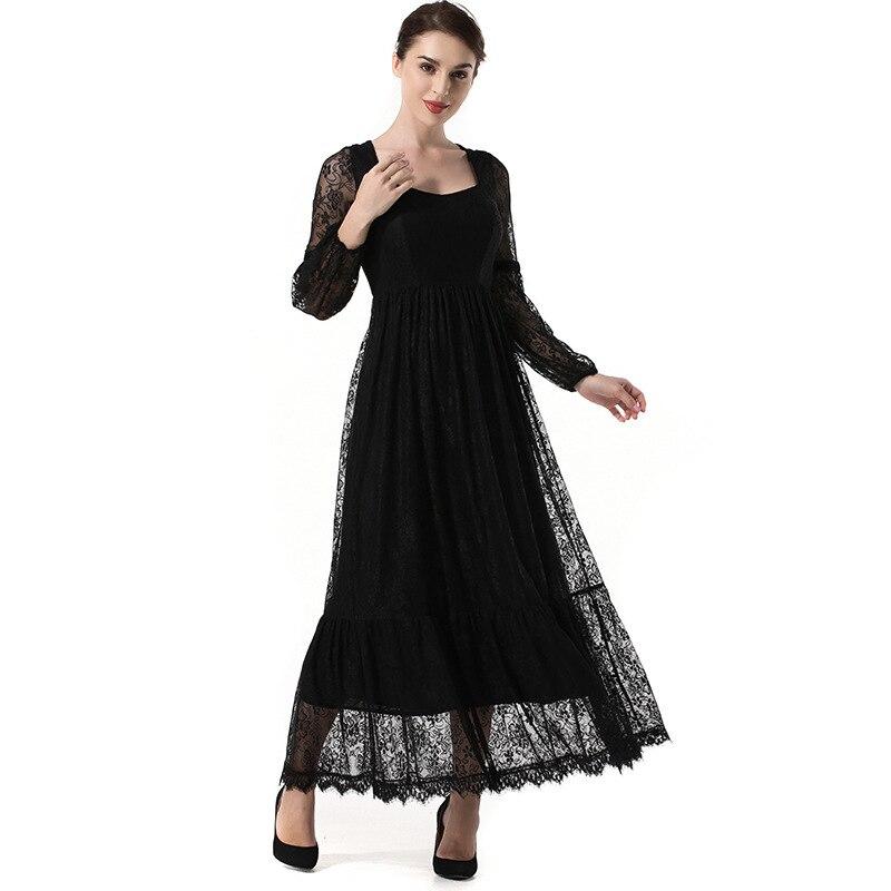 Femmes Club robe creuse dentelle robe lanterne manches Maxi robe col carré longues femmes robes de soirée