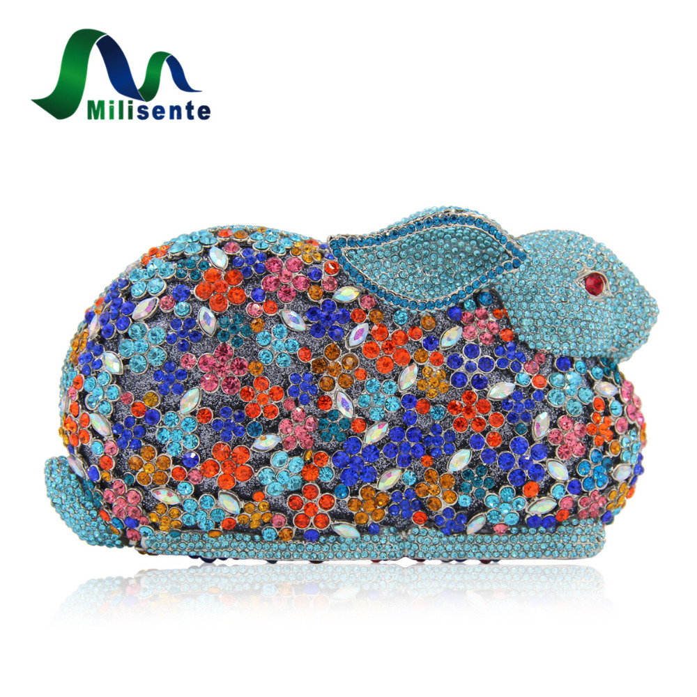 Milisente Luxury Flower Crystal Rabbit Shape Handbags Hollow Out Pattern Shoulder Evening Bags Wedding Party Clutchs Purse Gold milisente 2016 hot sale handbag luxury crystal evening bags special design for party gold