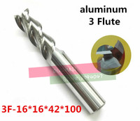 3F 16*16*42*100,HRC50,Carbide Square Flatted End Mill3flute milling cutter for aluminum endmill Carbide CNC End mill Router bits