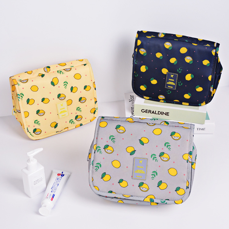 Multifunction Portable Cosmetic Bag Lemon Printing Wash Storage Travel Makeup Pouch Woman Make Up Bags Organizer Kit Beauty Case