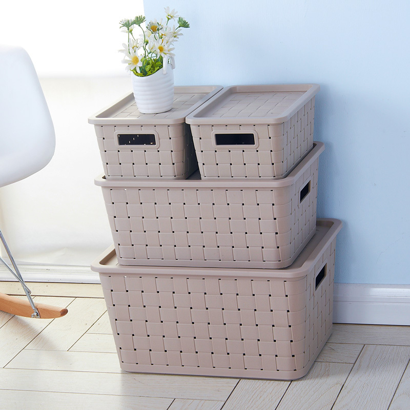 Rattan Plastic Storage Box Large Covered Storage Bins Toys Fitted Denim  Clothing Finishing Box Storage Box In Storage Bags From Home U0026 Garden On ...