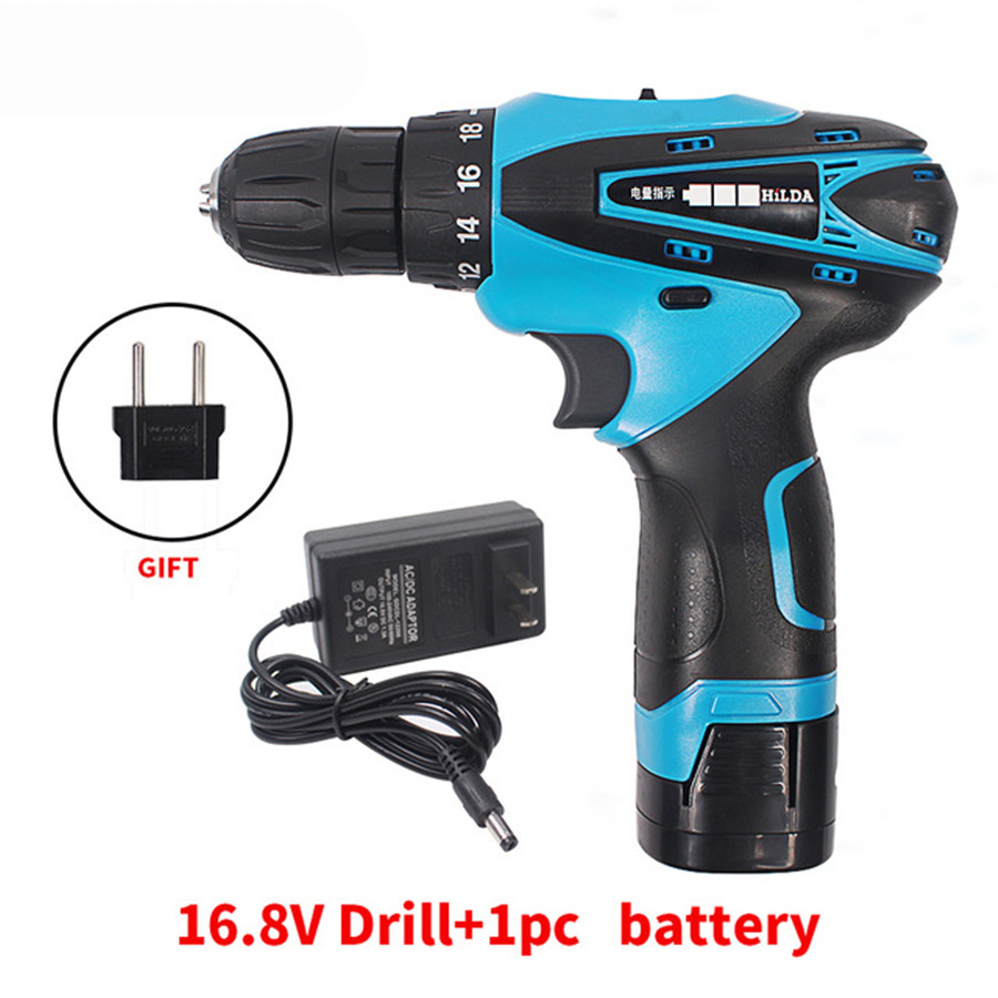 16.8V Cordless Screwdriver Electric Drill Two-Speed Rechargeable Lithium Battery Waterproof Hand LED Light 25v cordless drill electric two speed rechargeable 2pcs lithium battery waterproof drill led light