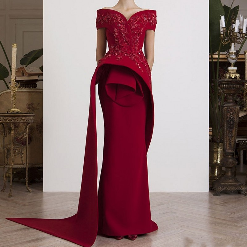 Off Shoulder Evening Gowns Long abiye Wine Red Formal Gowns abendkleider Burgundy Evening Dresses Elegant vestido
