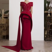 Off Shoulder Evening Gowns Long abiye Wine Red Formal abendkleider Burgundy Dresses Elegant vestido de festa longo