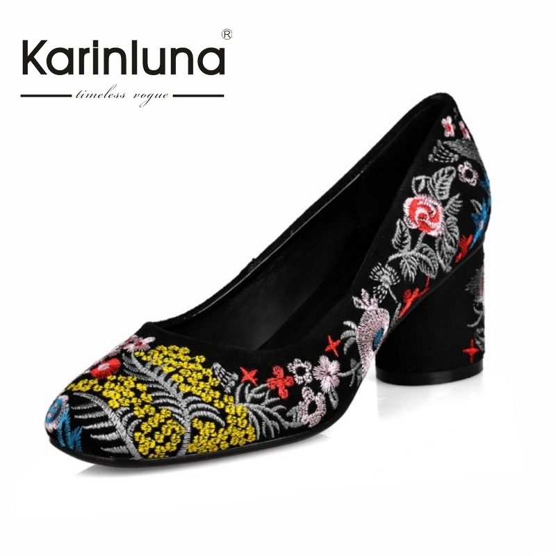 ФОТО KARINLUNA Brand New Big Size 34-43 Chinese Style Embroidery Cow Suede Pumps Cylinder High Heels Party Wedding Shoes Women
