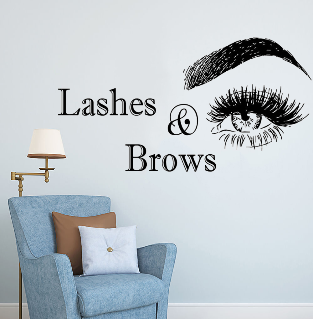 6c0b4264994 Wall Vinyl Decal Lashes And Brows Logo Wall Sticker Beauty Salon Decoration  Vinyl Stickers For Wall Eyelashes Make Up Art AY1085-in Wall Stickers from  Home ...