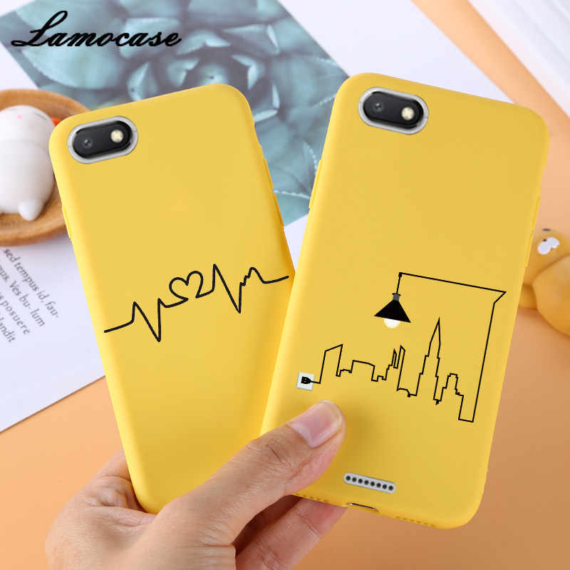 Lamocase Kawaii Pattern Yellow Case For Xiaomi Redmi Note 5A Pro 6A 6 5 Plus 3S S2 Solid Scrub Silicon Letter Matte Phone Cover