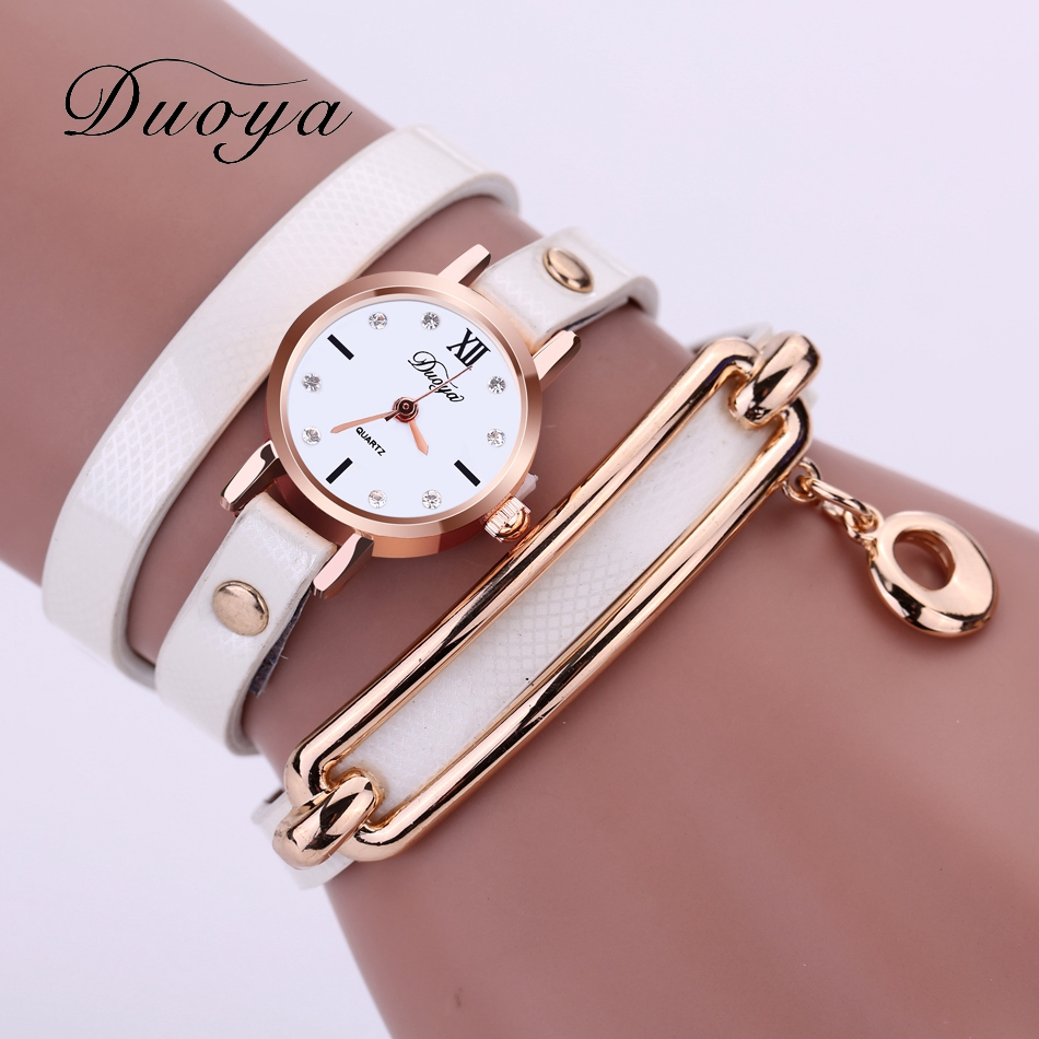 Duoya Famous Brand Watches Women Rose Gold Luxury Fashion Leather Bracelet Quartz Wristwatches Women Dress Casual Dress Watch geneva gold watches women top luxury band china style ceramic quartz watch for women dress bracelet casual fashion wristwatches