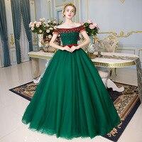 100% настоящий зеленый красный Бисероплетение Кристалл Средневековый платье Ренессанс Сисси платье принцессы викторианской/Мари/Belle бально
