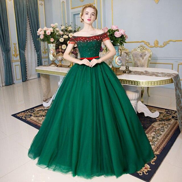 100% réel vert rouge perles cristal Médiévale Renaissance robe de princesse  Sissi robe Victorienne/