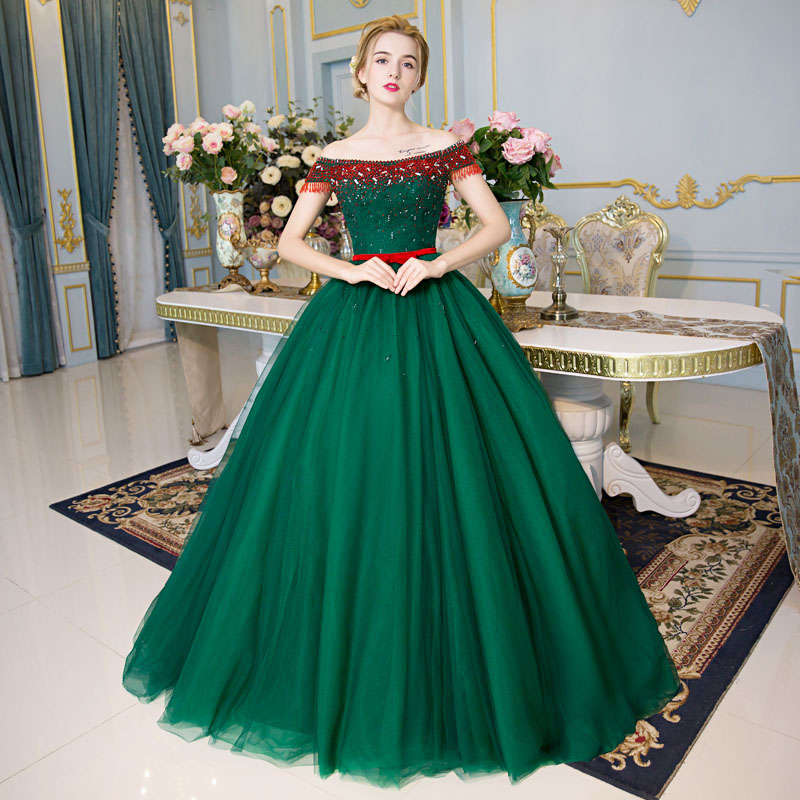 100%real green red beading crystal Medieval Renaissance gown Sissi princess dress Victorian /Marie/ Belle Ball cosplay dress