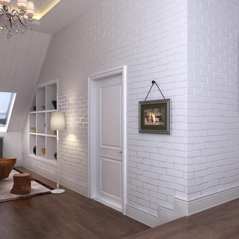 3D three dimensional brick wallpaper TV background blue brick white brick shop living room