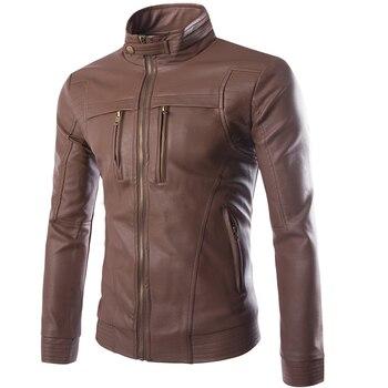 Chaquetas de PU para hombre Abrigos chaqueta de cuero de motocicleta para hombre otoño primavera ropa de cuero de imitación para hombre Abrigos casuales ropa de talla grande 4XL
