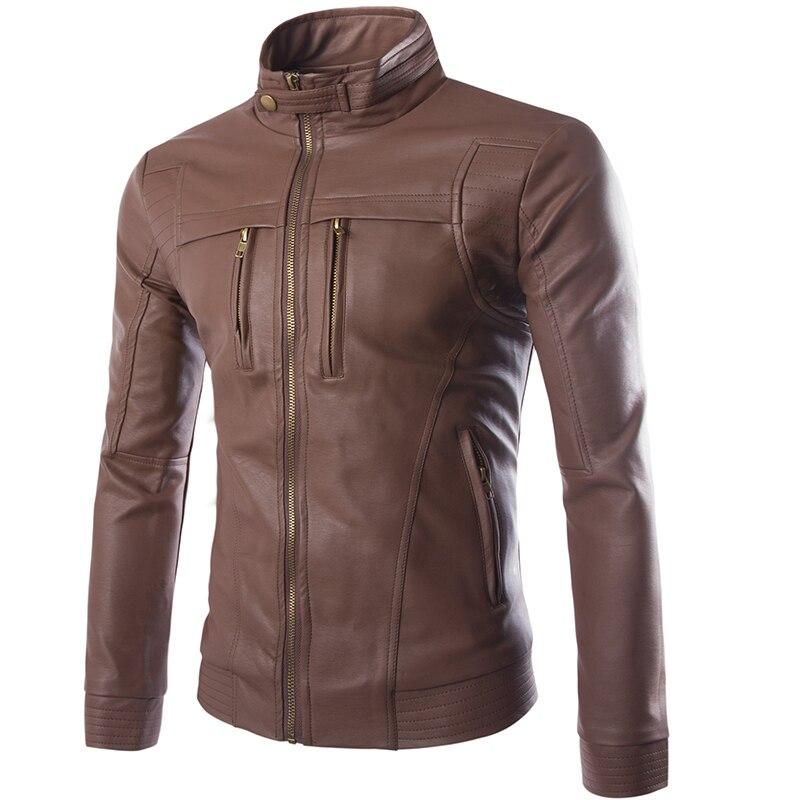 Hombres PU chaquetas cuero de la motocicleta chaqueta hombres otoño primavera Faux ropa de cuero abrigos Casual ropa más tamaño 4XL