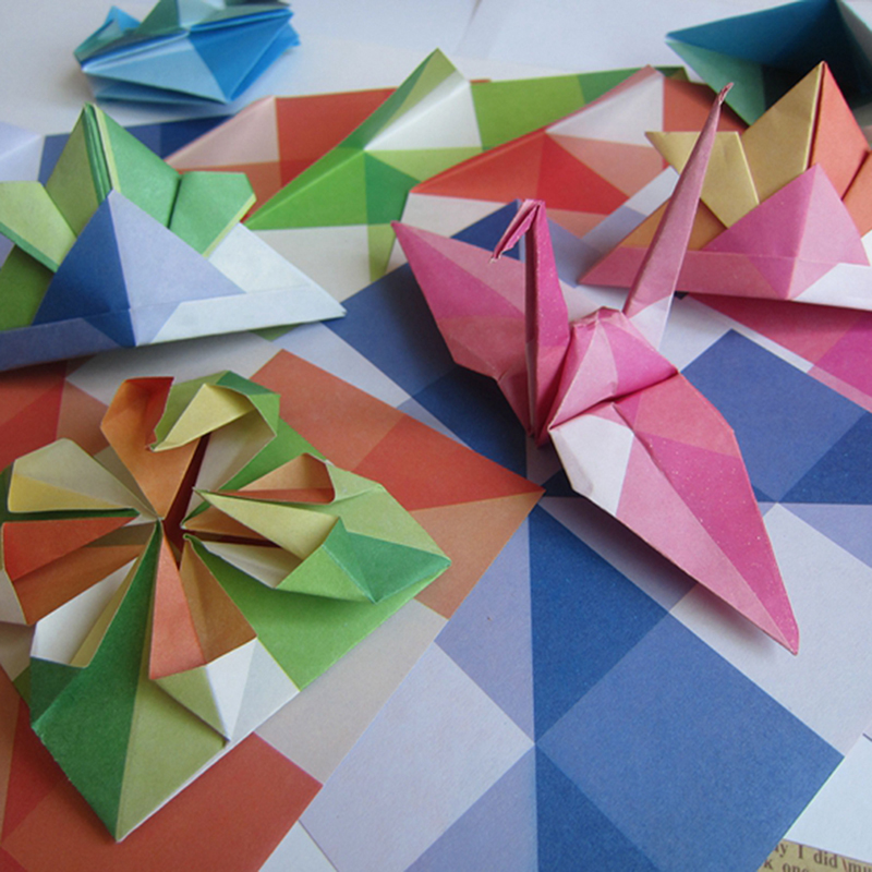 24Pcs DIY Kids Color Origami Handmade Toys Paper Geometric Pattern Decoration Folding Material Package
