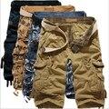 Nuevos Mens militar Cargo Shorts 2016 nuevo camuflaje ejército hombres de algodón suelta trabajo pantalones cortos ocasionales más tamaño sin cinturón