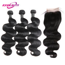 Человеческие волосы пучки с закрытием 4x4 швейцарские кружева 3 шт перуанские тела волнистые волосы плетение бесплатная часть для черной