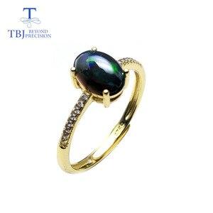 TBJ, черный Эфиопский Опал овальной огранки 6*8 мм натуральный драгоценный камень классическое кольцо в 925 пробы драгоценности из серебра и камней с подарочной коробкой