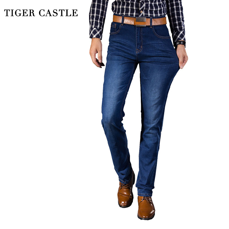 TIGER CASTLE Casual Denim Jeans for Men Middel Waist Slim Stretch Male Pants Jeans Brand Classic Jeans Men Large Size 38 40 42 men s cowboy jeans fashion blue jeans pant men plus sizes regular slim fit denim jean pants male high quality brand jeans