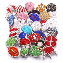 Wholesale 10pcs/lot New Colorful Mix Random 12mm 18mm Snap Jewelry Rhinestone Button for Bracelets Necklaces