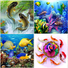 Canvas Colorful Koi Fish 5D Diamond Painting Animals Full Square Drill Crystal Mosaic Embroidery Home Decorations Cross Stitch