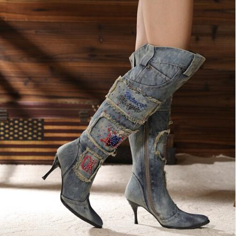 Fashion Botas Femininas Sem Salto Pointed Toe Blue Denim Boots Thin High Winter Side Zipper Knee High Denim Boots Women Shoes циркулярная пила диолд диолд дп 1 4 01