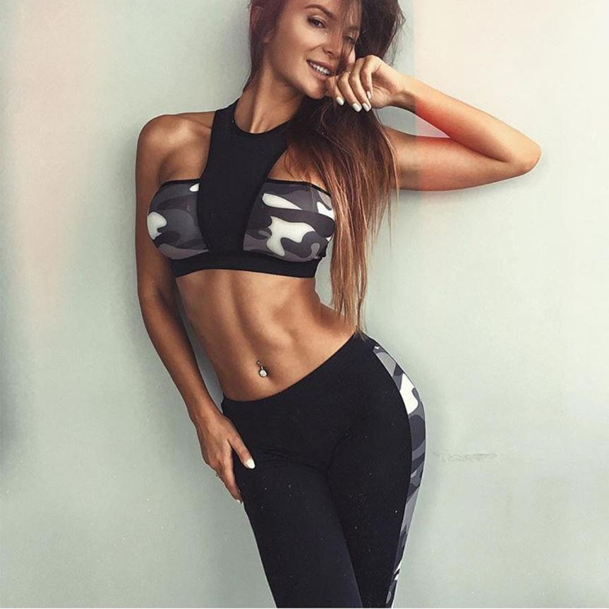 2017 Women Yoga Set Running Bra + Pants Gym Fitness Clothes Tights Sport Wear Youthful Own Store